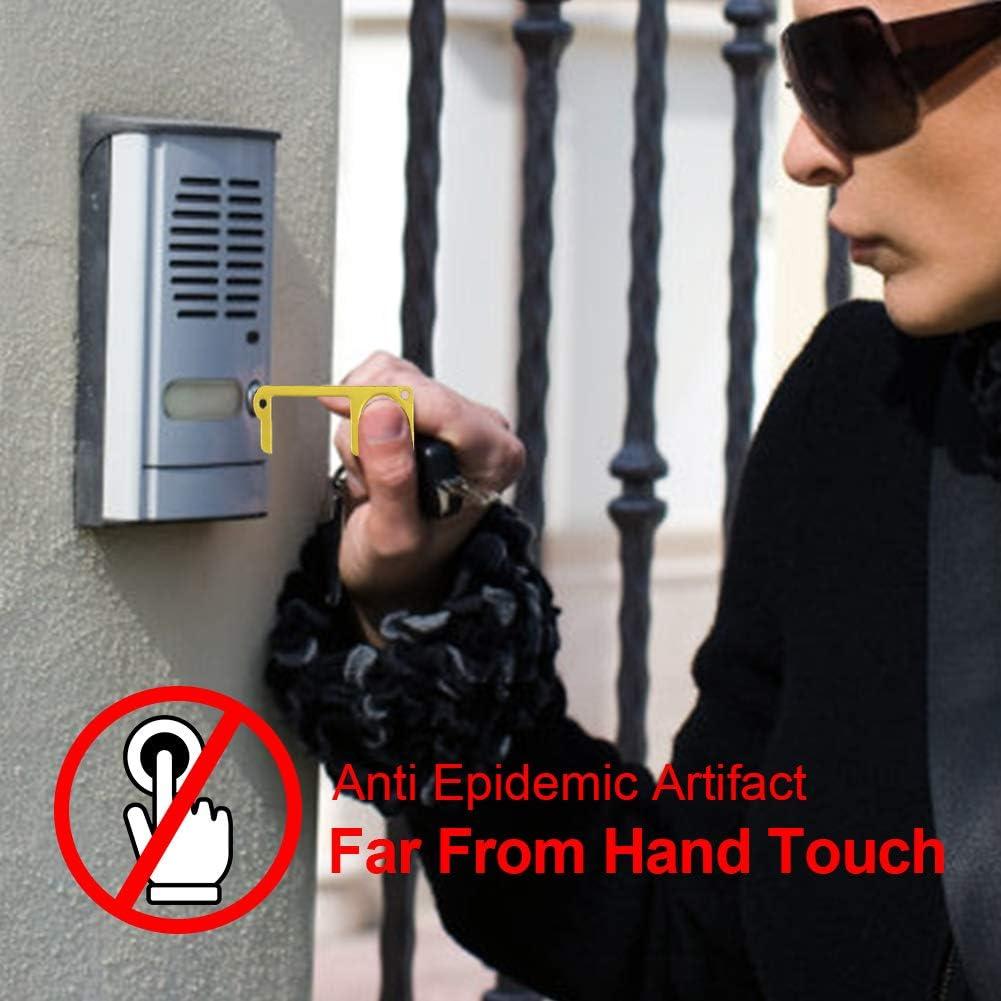 Clean Key Door opener tool Handheld Brass EDC Keychain Tool 1 Gutupet Non-Contact Key Door Opener /& Closer Contactless Safety Door Opener Smart Key Tool,Keep Hands Clean