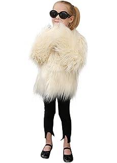 VLUNT Abrigo de Piel para Niños Chaqueta Pelo Chica Fur Coat Winter Ropa Invierno Niña Tops
