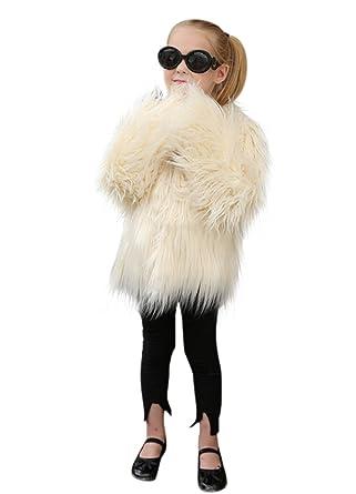 VLUNT Abrigo de Piel para Niños Chaqueta Pelo Chica Fur Coat Winter Ropa Invierno Niña Tops Mangas Largas Abrigo de Pelo Chica Tops Piel (Negro): Amazon.es: ...