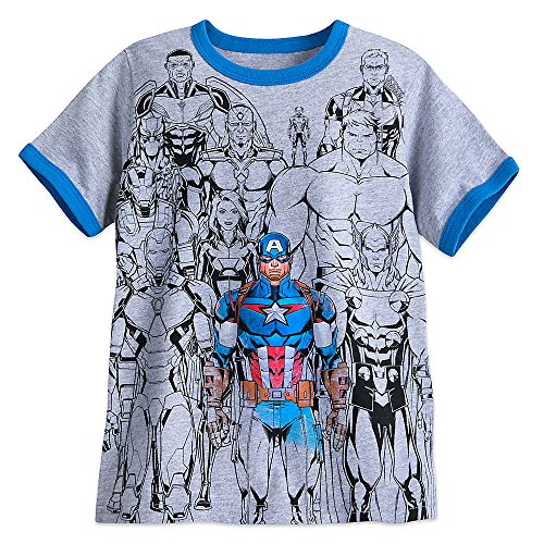 Marvel Captain America with Avengers Ringer T-Shirt for Boys Size S (5/6) Gray