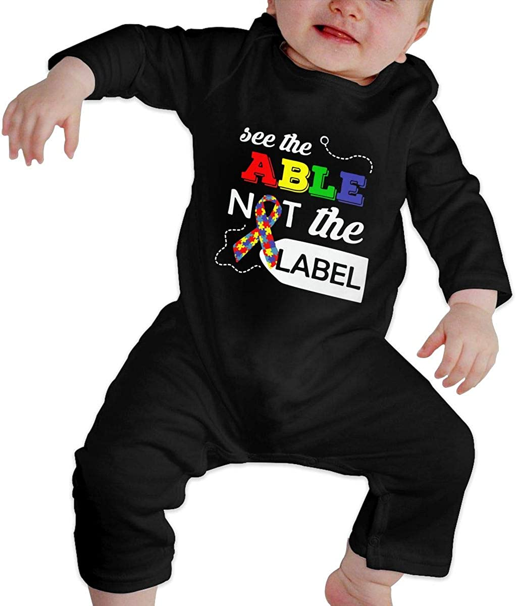 See The Able Not The Label Autism Awareness Organic One-Piece Kid Pajamas Clothes Baby Girls Romper Jumpsuit