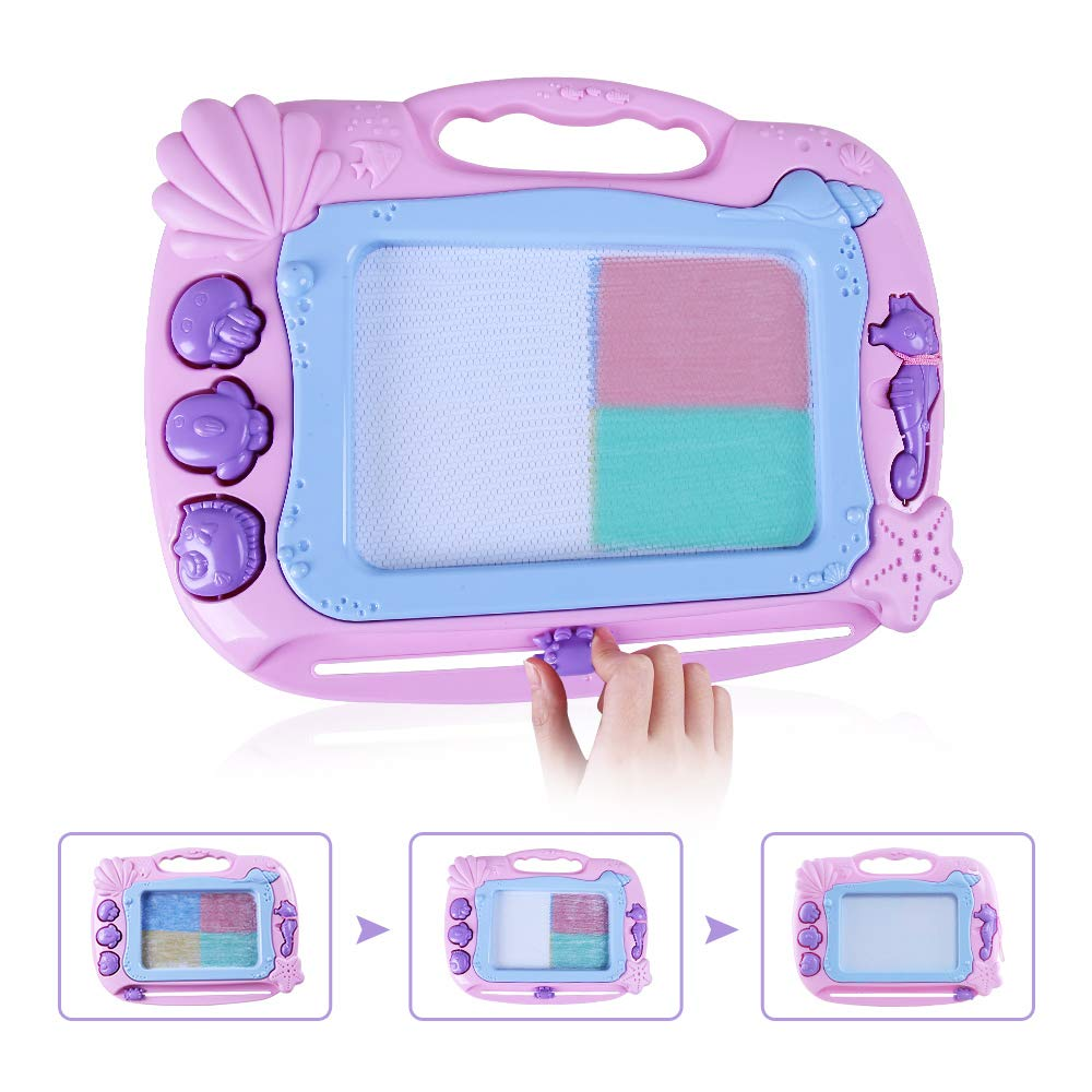 zuhafa Magnetic Drawing Board,Non-Toxic Big Erasable Magna Doodle Toy,Assorted Colors Writing Painting Sketching Pad for Toddler Boy Girl Kids Skill Development,14X11 14/'/'X11/'/' Pink Pink