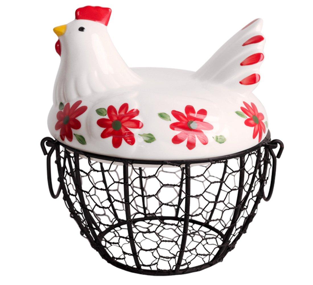 Kitchen Storage Metal Wire Egg Basket with Ceramic Farm Chicken Cover Egg Holder / Organizer Case / Container