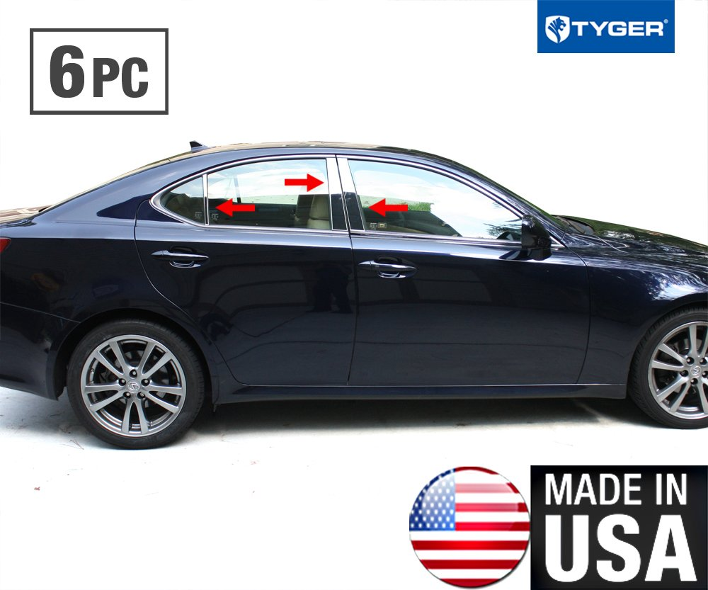 Works With 06-2013 Lexus IS 6 PC Stainless Steel Chrome Pillar Post Trim Made in USA