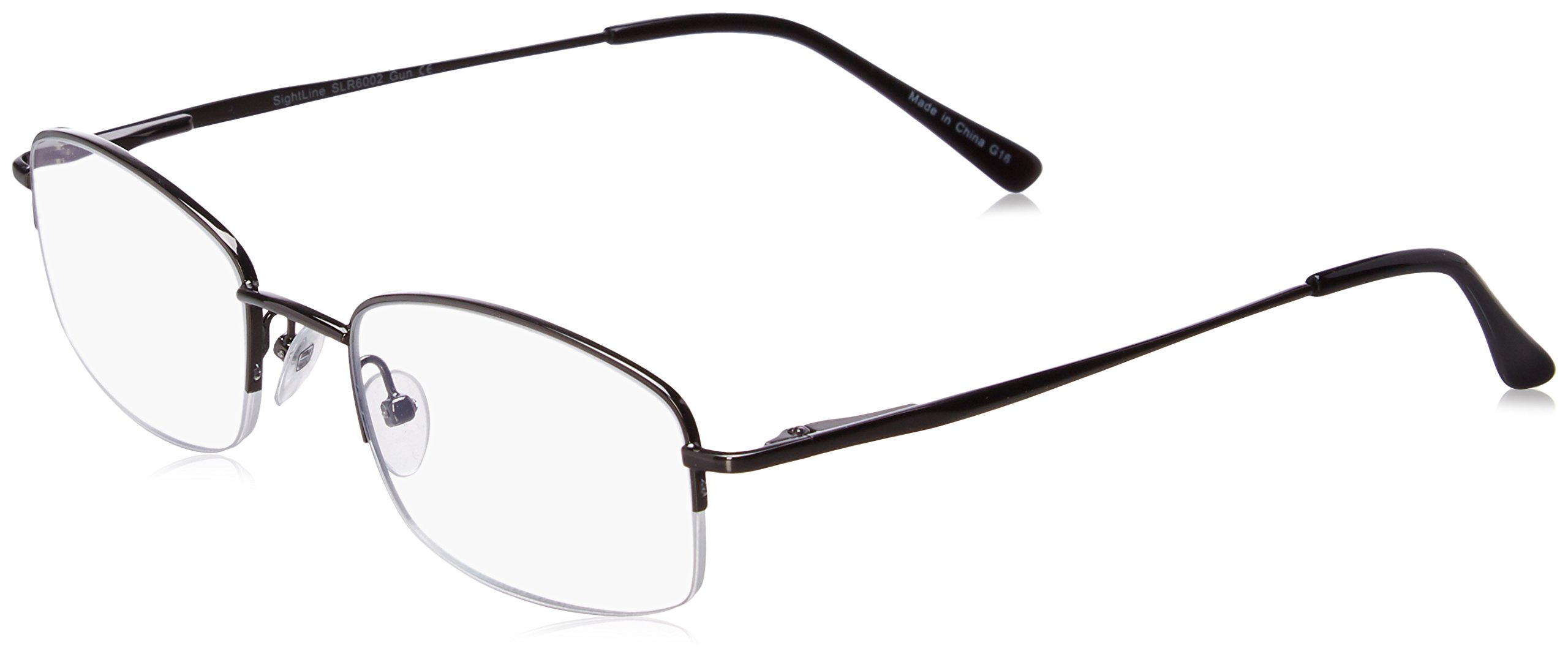 e1d900482f Amazon.com  SightLine Multifocal Computer Reading Glasses 6002 Semi-Rimless  Designer Frames (2.00
