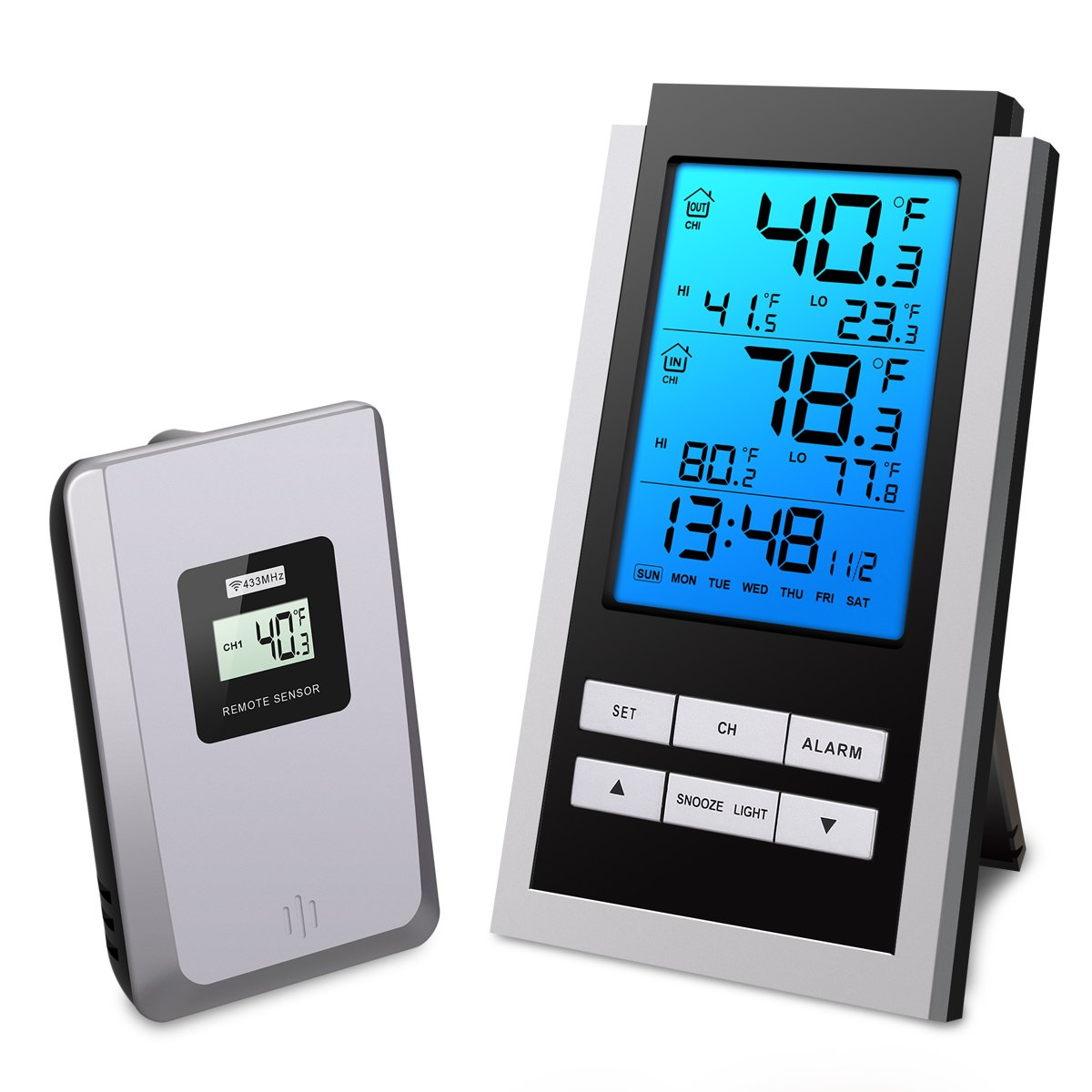 ORIA Indoor Thermometer, with Alarm Clock and Snooze Function, Digital Wireless Indoor/Outdoor Temperature Monitor, Remote Thermometer with Blue Backlight, Battery Not Included by ORIA
