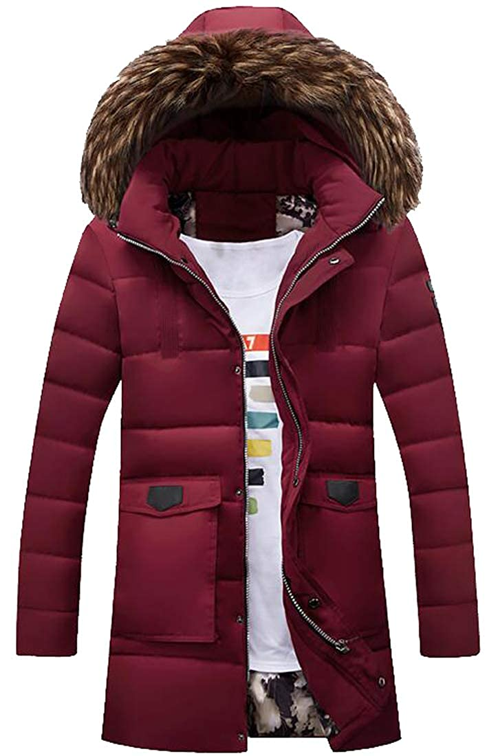 WAWAYA Mens Faux Fur Hooded Mid Length Winter Thick Down Quilted Coat Jacket Outwear