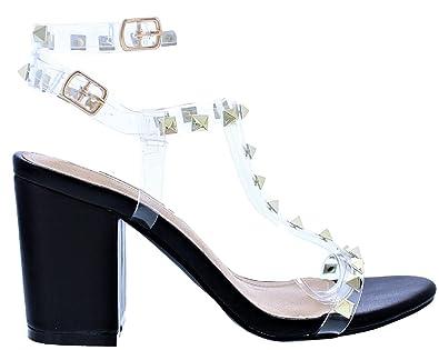 0b9b983d6d Amazon.com | Liliana Rammy-42 Transparent Clear Straps w/Spikes Studs Open  Toe Low Block Heel Gladiator Sandals Black 6.5 | Sandals