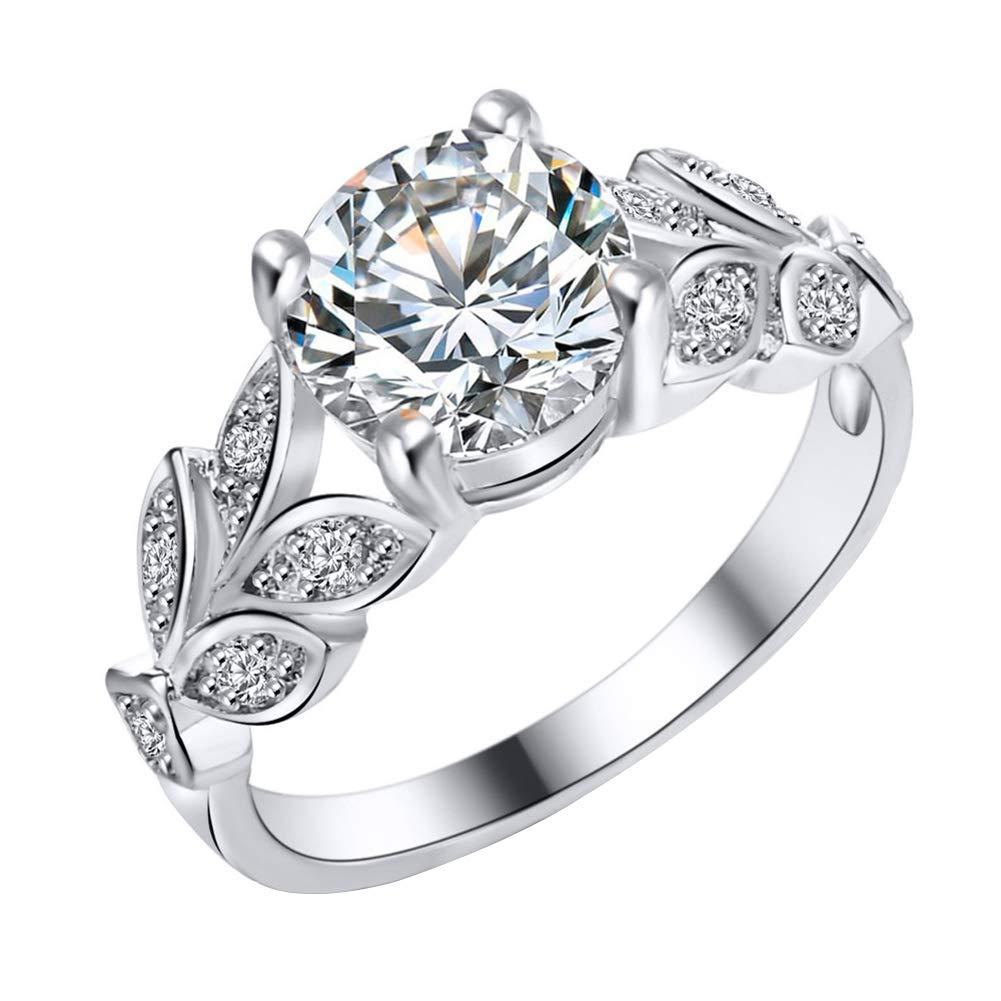 Slendima Elegant Cubic Zirconia Leaf Finger Ring Wedding Engagement Bridal Women Jewelry Gift Silver US 7