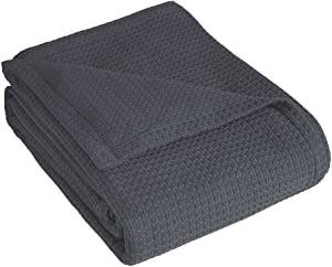 Elite Home Products Grand Hotel Cotton Blanket, Full/Queen, Dark Gray