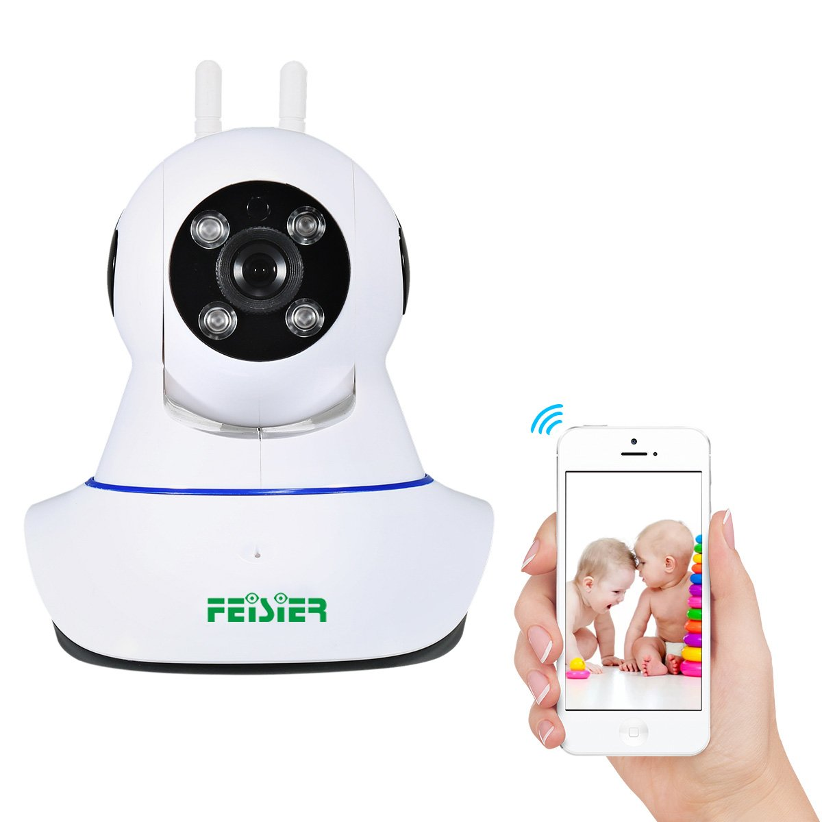 Wireless Security Camera,FEISIER 960P HD Home WiFi Wireless IP Indoor Security Surveillance Camera System with Motion Detection Pan/Tilt,2 Way Audio and Night Vision Baby/Elder/ Pet/Nanny Monitor(2 an