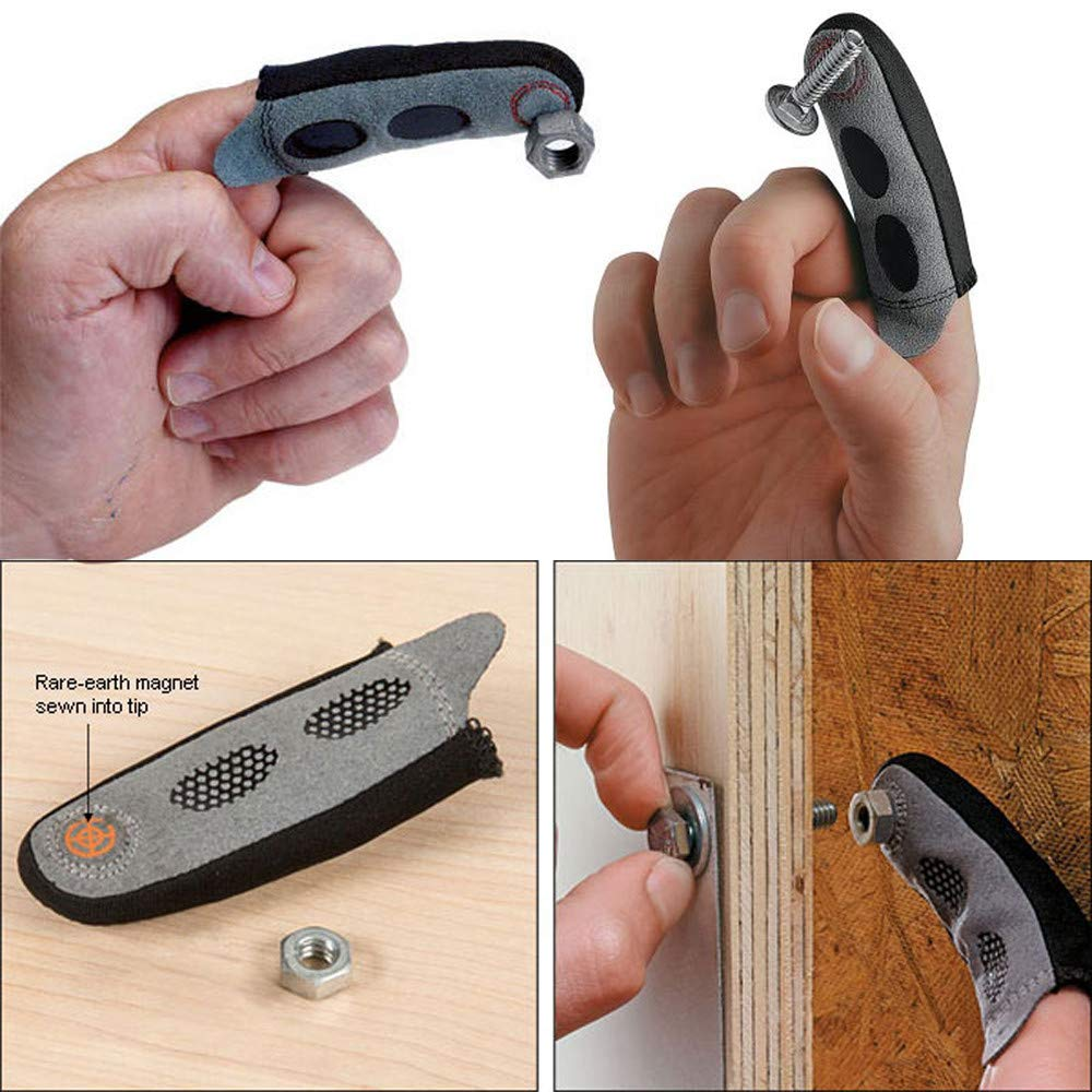 Sikye Magnetic Fingertip Sleeve Magnet on Finger Busted Knuckle Sleeve Assures Adsorption Screw Tool Work Glove