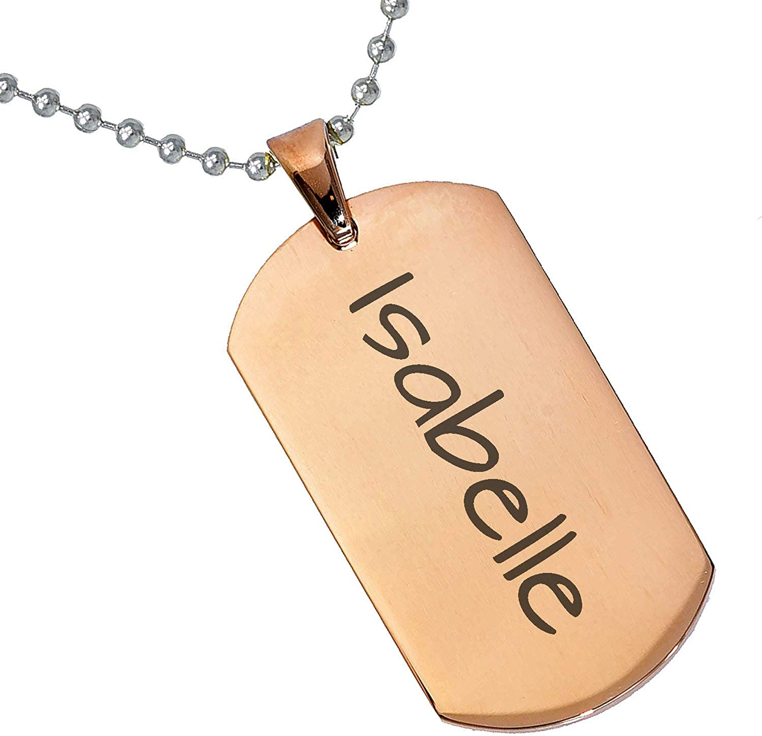 Stainless Steel Silver Gold Black Rose Gold Color Baby Name Isabelle Engraved Personalized Gifts For Son Daughter Boyfriend Girlfriend Initial Customizable Pendant Necklace Dog Tags 24 Ball Chain