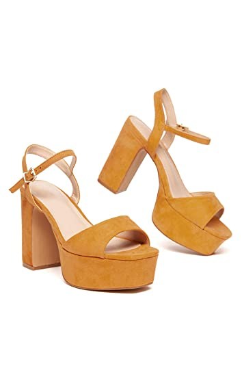 bd748c03e Michelle Parker Shoe Republic Sheena Camel Vegan Suede Open Toe Chunky Heel  Platform Sandals (6