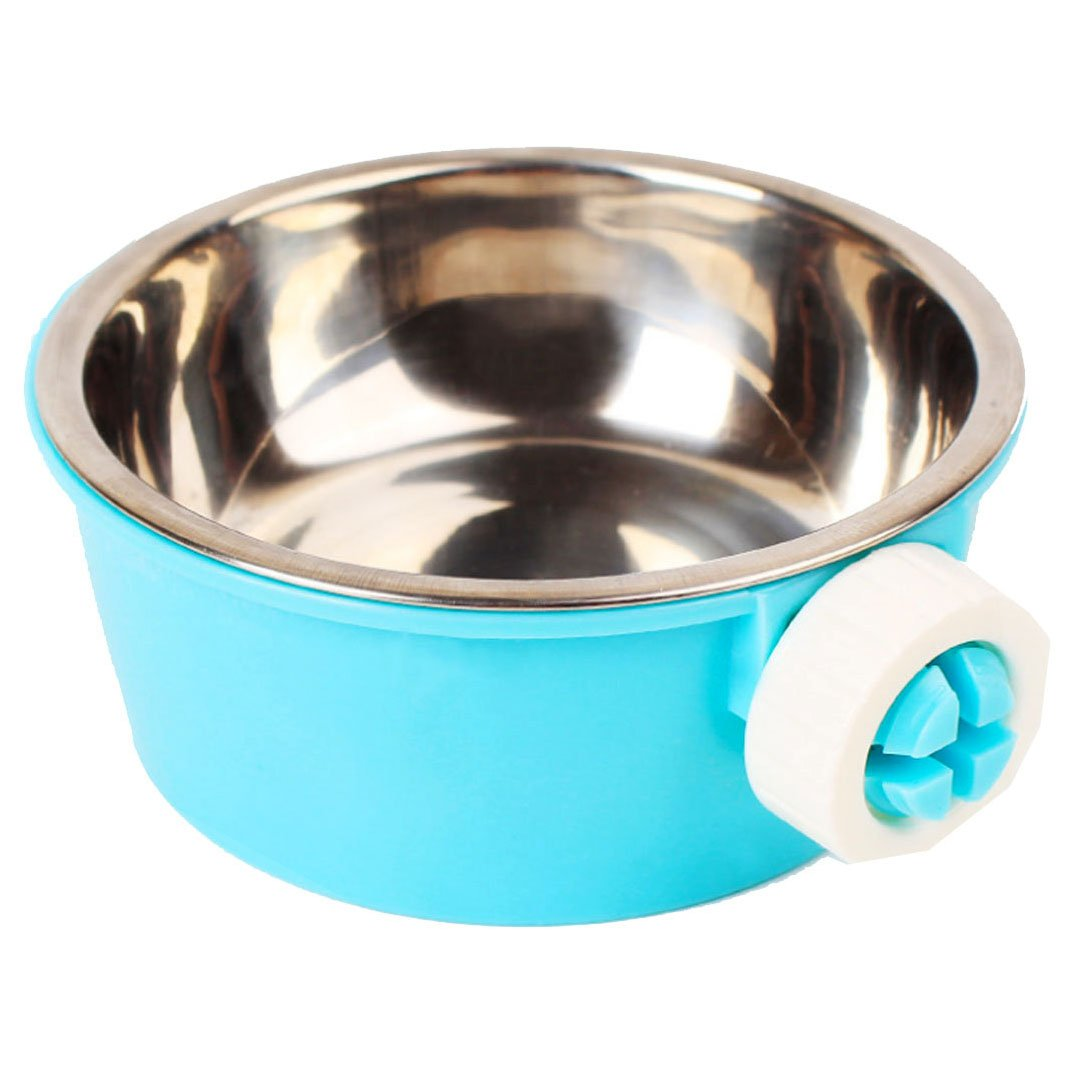 Budd Stainless Steel Pets Water Food Bowl Removable Hanging Cage Cup Small Animals Cat Puppy Birds Food Bowl Bolt Holder Accessories(Blue)
