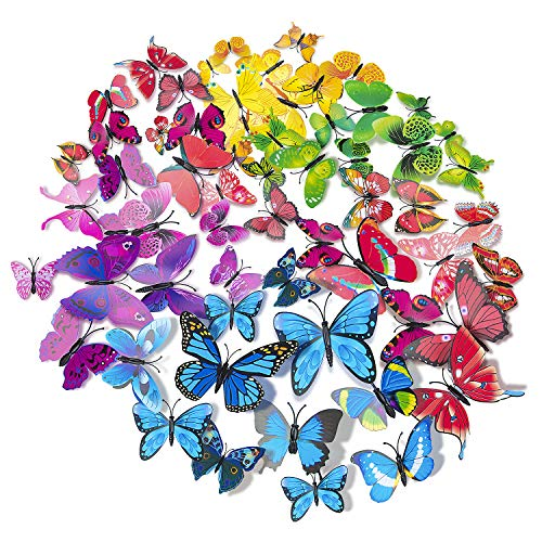 72 x PCS 3D Colorful Butterfly Wall Stickers DIY Art Decor Crafts for Nursery Classroom Offices Kids Girl Boy Baby Bedroom Bathroom Living Room Magnets and Glue Sticker Set -
