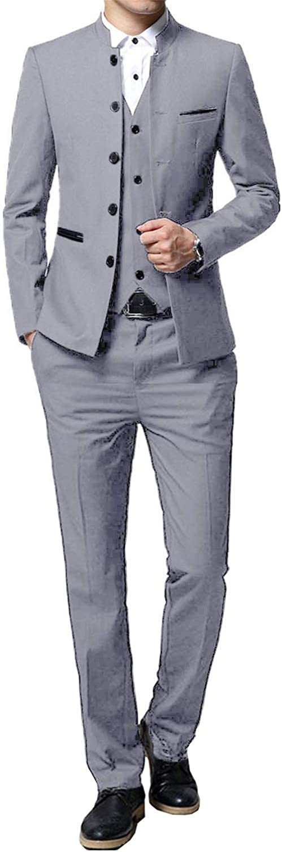 QZI Uomo Completo Colletto Monopetto Slim Fit Completo di 3 Pezzi