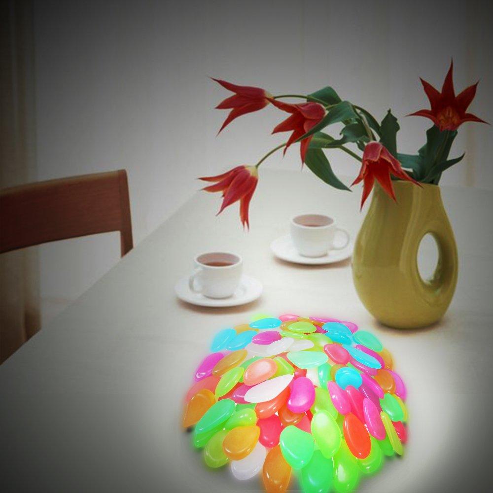 GoZheec Piedras Decorativas Brillantes 100 Piezas luminosas piedras Piedras Luminosas para Decoración de Jardín, Acuario, Pecera, Walkway, Artificiales