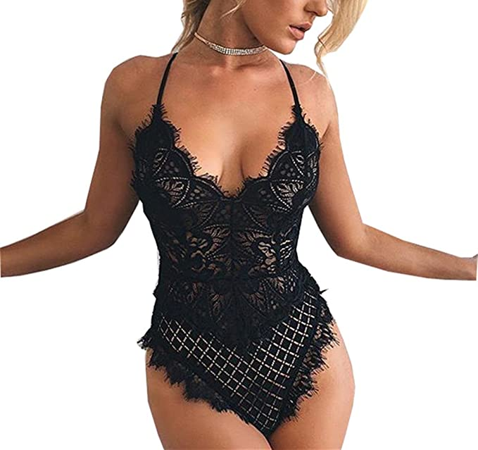 d585e7d121 Roselux Women s Sexy Lace Bodysuit One Piece Black Teddy Lingerie(Black