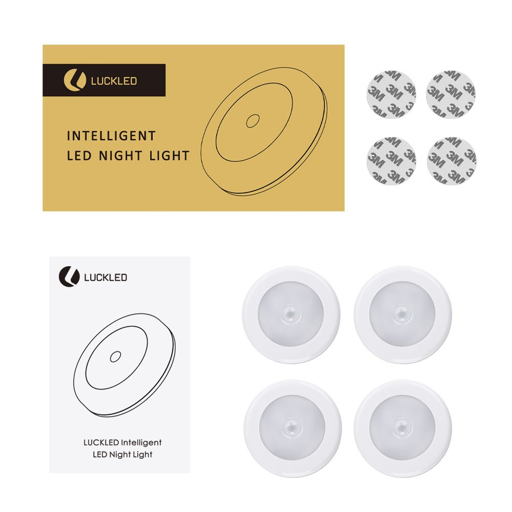 Bathroom Warm White Deck LUCKLED 4 PCS Wireless Motion Sensor Light Stairs Bedroom Wall Light for Closet Hallway Kitchen Battery-Powered LED Stick-Anywhere Nightlight