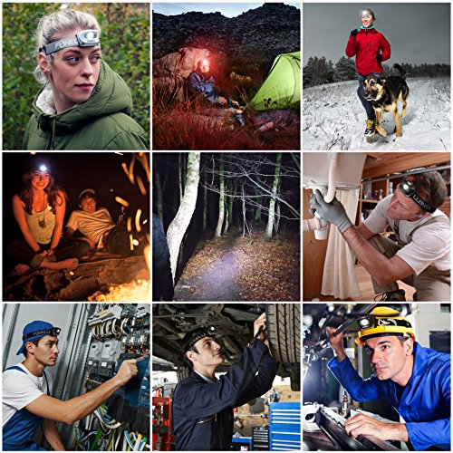 Foxelli Headlamp Flashlight Bright 165 Lumen White Cree Led + Red Light, Perfect for Runners, Lightweight, Waterproof, Adjustable Headband, 3 AAA Batteries Incl.