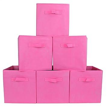 EZOWare Caja de Almacenaje con 6 pcs, Set de 6 Cajas de juguetes, Caja de Tela para Almacenaje,Rosa: Amazon.es: Hogar
