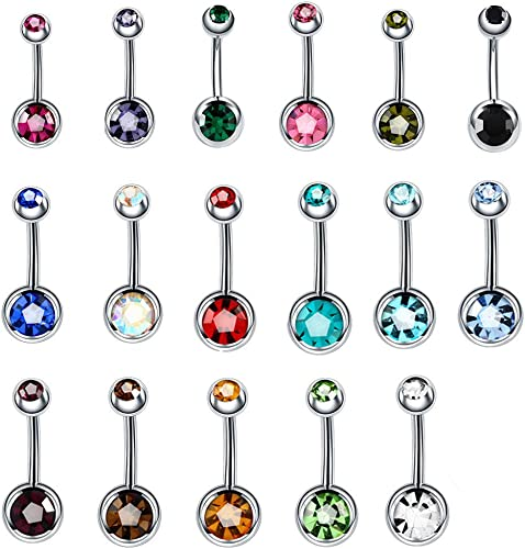 Amazon Com Beautytime 17pcs Assorted Colors Belly Button Ring
