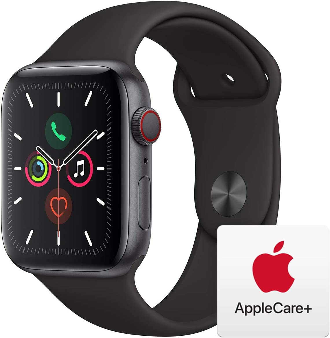 Apple Watch Series 5 (GPS+Cellular, 44mm) - Space Gray Aluminum Case with Black Sport Band with AppleCare+ Bundle