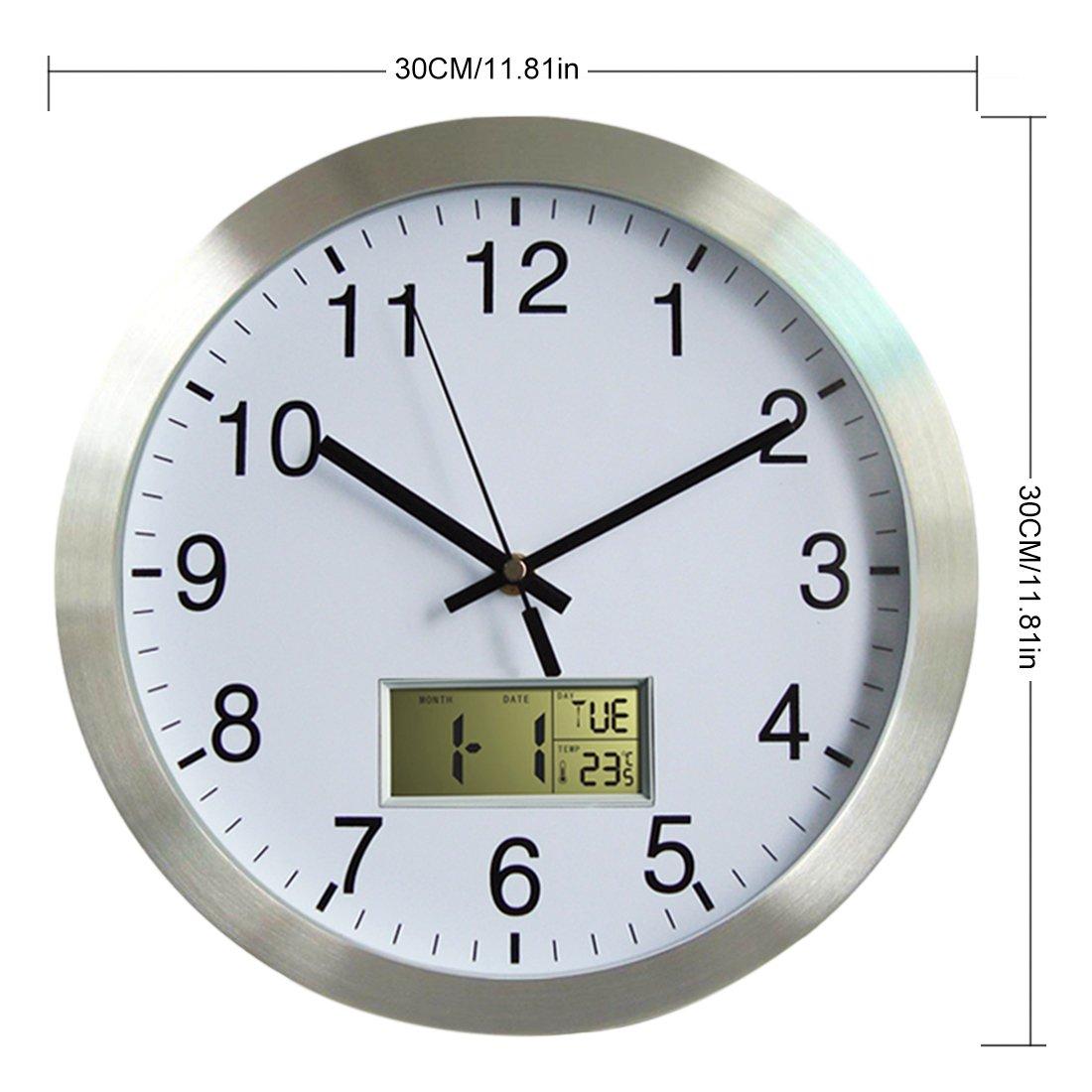 YAHAMA Radio Reloj de pared grande Radio Reloj Reloj de pared según los Radio Reloj con calendario de pared radiocontrolado con termómetro de diámetro 30 ...