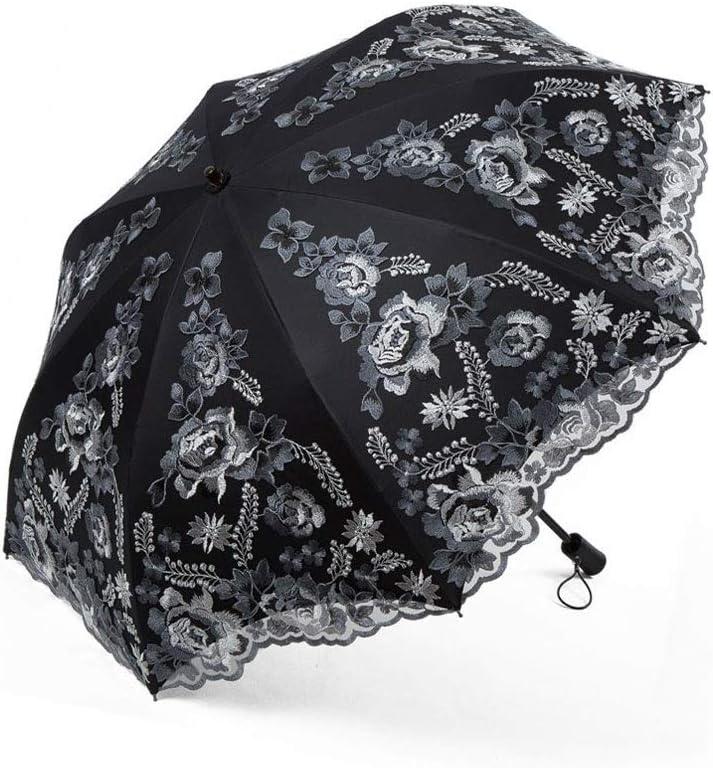 Py 傘レース刺繍入り太陽傘女神傘ダブル日焼け止めアンチUV折りたたみ傘