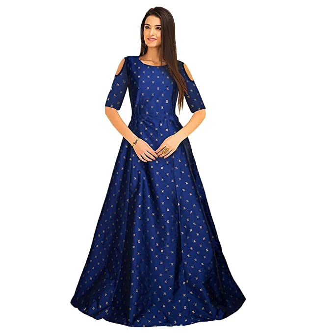Belomoda Blue Color Jacquard Taffeta Fancy Silk Fabric Half Sleeve Printed  Casual Partywear Stitched Long Gown 11c06d54a