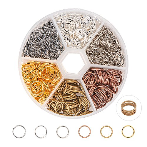 PandaHall Elite About 250 Pcs Iron Open Jump Rings Unsoldered 10mm Diameter Wire 21-Gauge 6 Colors for Jewelry Findings 10 Mm Jump Rings