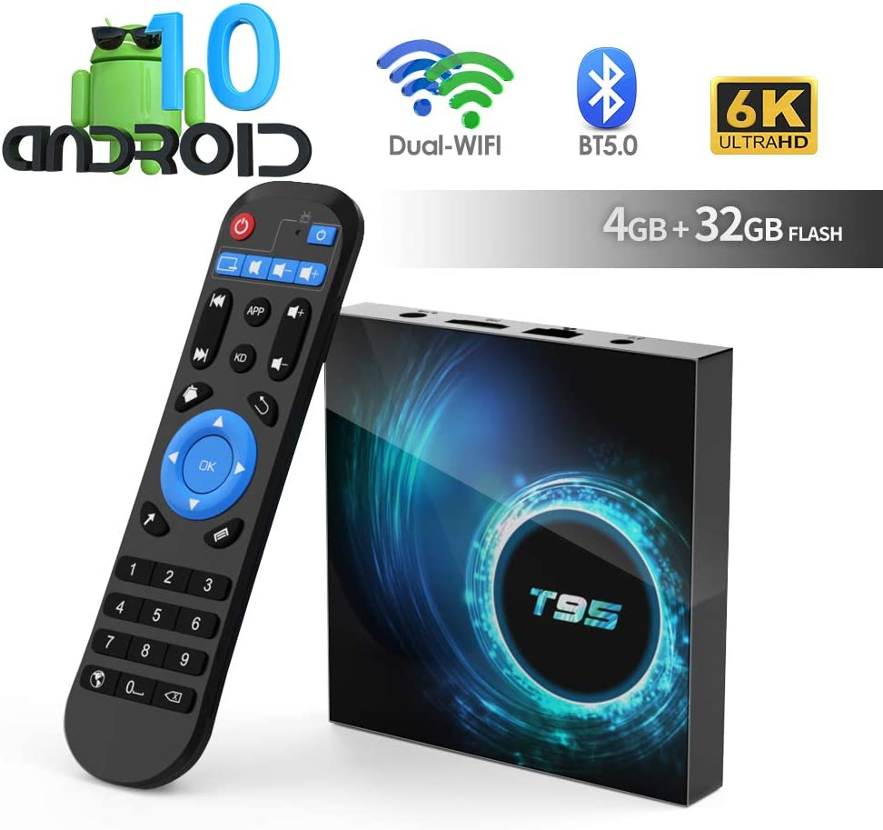 Android TV Box, TUREWELL T95 Android 10.0 Allwinner H616 Quadcore 4GB RAM 32GB ROM Mali-G31 MP2 GPU Soporte 6K 3D 1080P 2.4/5.0GHz WiFi 10/100M Ethernet BT 5.0 DLNA HDMI 2.0 H.265 Smart