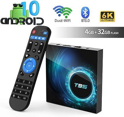 Imagen deAndroid TV Box, TUREWELL T95 Android 10.0 Allwinner H616 Quadcore 4GB RAM 32GB ROM Mali-G31 MP2 GPU Soporte 6K 3D 1080P 2.4/5.0GHz WiFi 10/100M Ethernet BT 5.0 DLNA HDMI 2.0 H.265 Smart TV Box