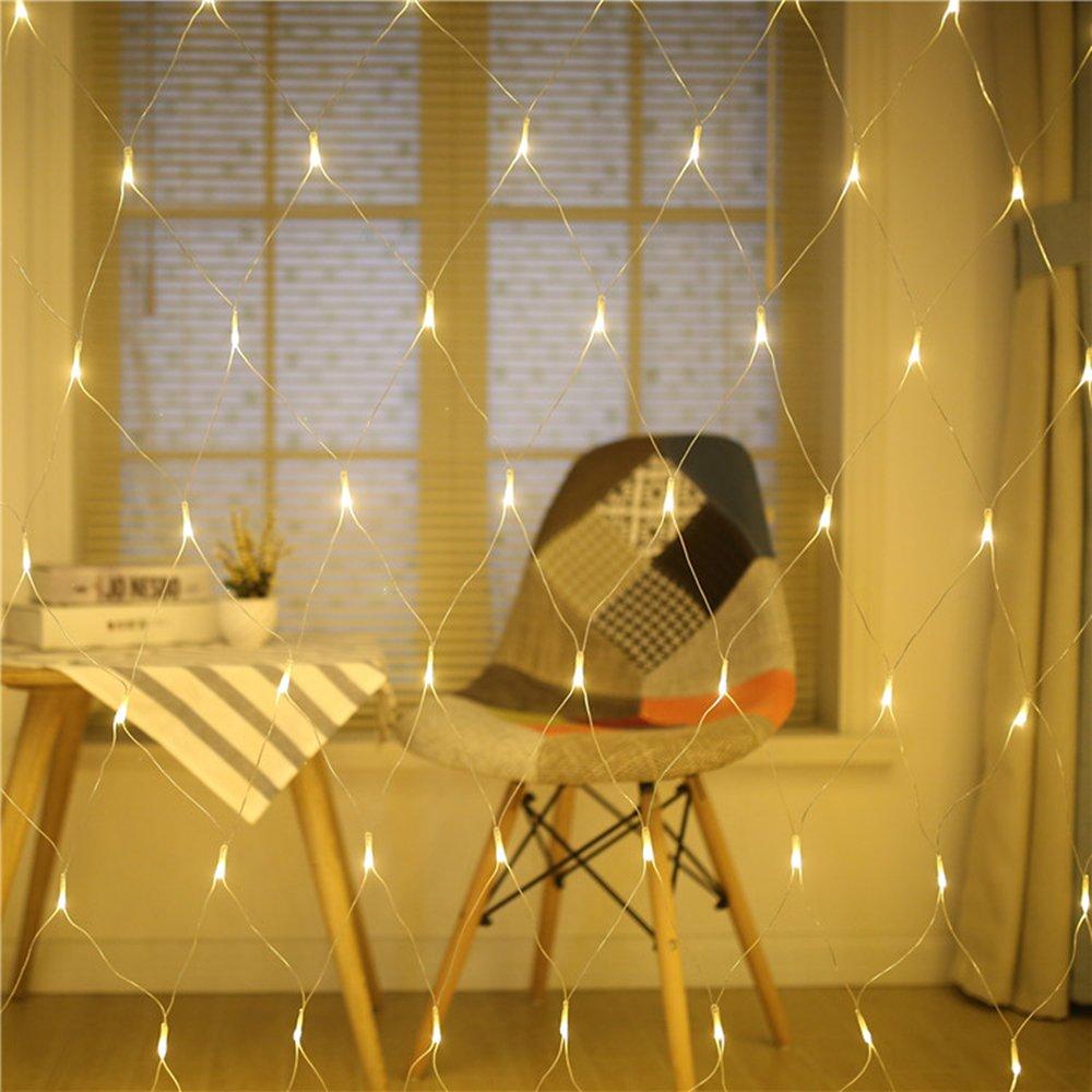 Energieklasse A+ 240LED Lichternetz, Dauerlicht 100//160//240//320er LED Lichternetz Lichtervorhang Lichterkette Warmweiß Deko Leuchte Innen und Außen Weihnachten Hochzeit mit Stecker gresonic