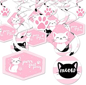 Big Dot of Happiness Purr-fect Kitty Cat - Kitten Meow Baby Shower or Birthday Party Hanging Decor - Party Decoration Swirls - Set of 40