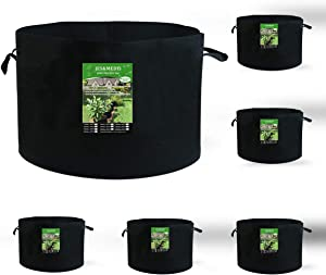 6-Pack 35 Gallon Plant Grow Bags Thick Aeration Non Woven Fabric Flower Vegetable Pots with Handles Garden Container Black (35 Gallon_6 Pack)