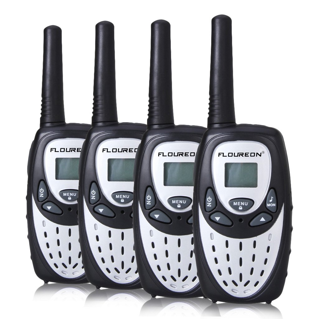 FLOUREON 4PCS Walkie Talkies for Kids with Long Distance Range 8 Channel Two-way Radio with Fast Auto Channel Scan for Indoor/Outdoor Activity Communication