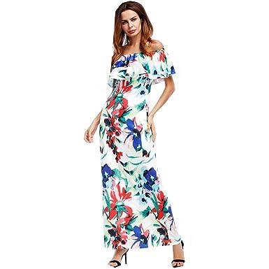 c7bef8fb2228 Fashion Women Off Shoulder Ruffle Maxi Dress at Amazon Women s ...