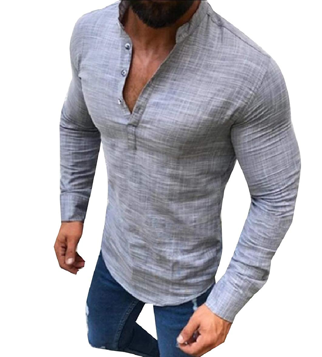 Tootless-Men Button Casual Pure Color Linen Ethnic Style Shirt Blouse Tops