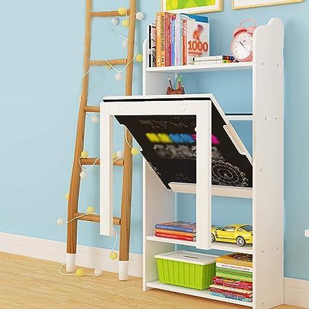 Mesa de Pared Plegable Blanca, Mesa de Estudio Para Niños con Pizarra,Combinación de Estantería de Escritorio, Escritorio Multifuncional (52x52x108cm-table): Amazon.es: Hogar
