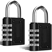2 Pack Combination Digital Padlocks, FineGood 4 Digit Combination Locks for Shed Door School Gym Pool Locker Suitcase…