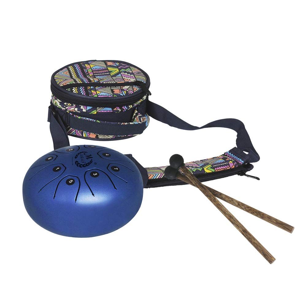 Heilsa Mini Steel Tongue Drum, 5.5 Inch Tank Drum Chakra Drum with Rubber Musical Mallet and Travel Bag Stress Relieve Musical Instrument for Art Lovers Children's Music Enlightenment Buddhist Medita