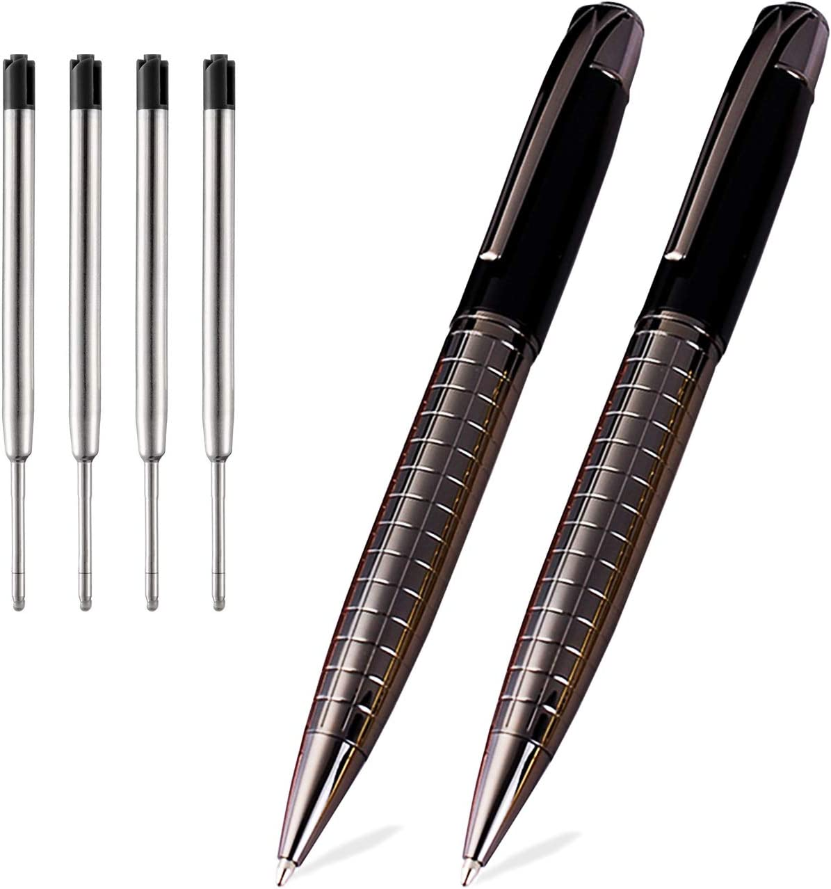 Obacle Ballpoint Pens Black Pens Medium Ball Point 1.0mm Smooth Writing Grip Metal Retractable Executive Business Office Fancy Nice Gift Pen for Men Women (Gun Black, 2 Pack 4 Refills)