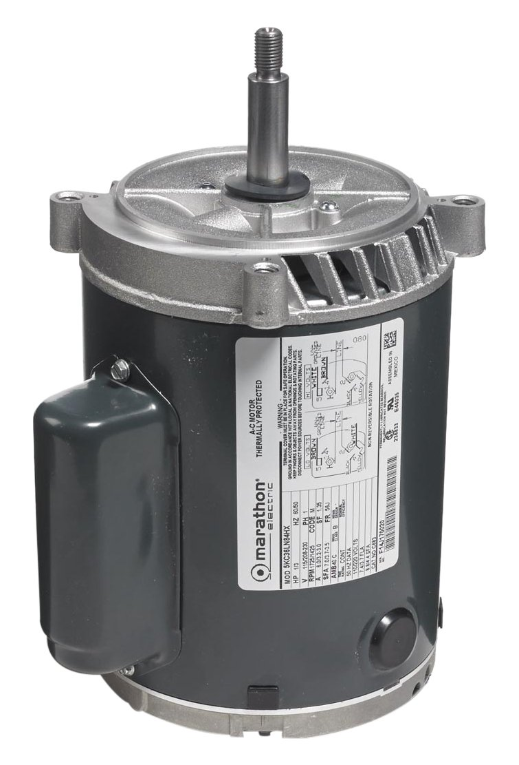 Marathon 5KC36LN84X Jet Pump Motor, 1 Phase, Open Drip Proof, C-Face, Ball Bearing, 1/3 hp, 1800/1500 rpm, 2 Speeds, 115/208-230 VAC, 56J Frame, Capacitor Start