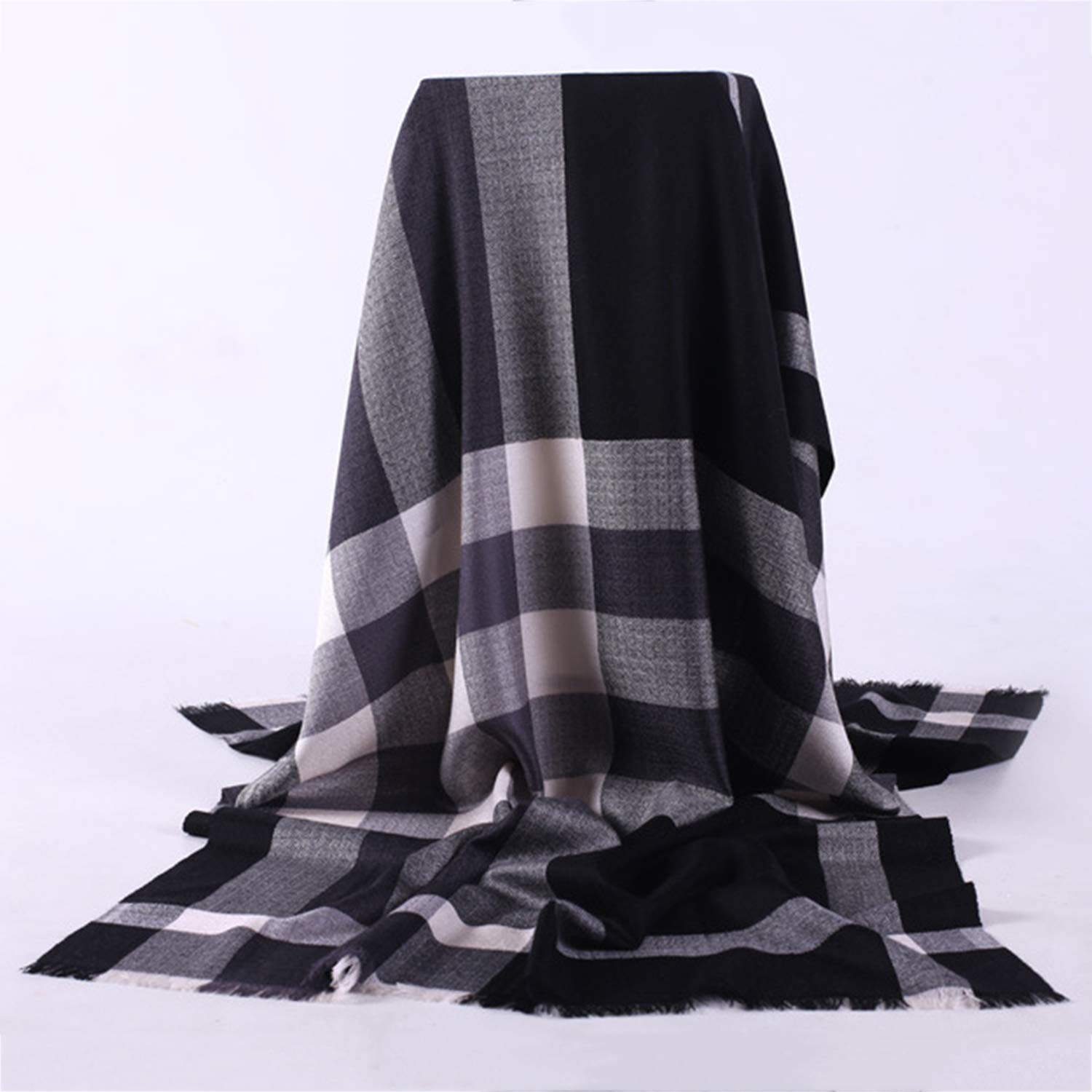 Black Scarf Autumn and Winter Women's Warm Wool Plaid Wild Scarf Shawl DualUse, 200  70cm