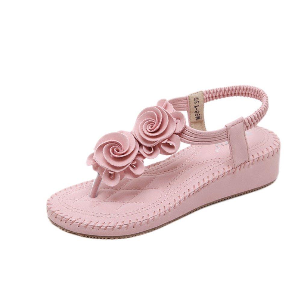 Sandalias De Mujer Sandalias De Chancletas Zapatos De Camino De Trail Metalicos Pendiente De Flores De Bohemia con Gran Tamaño 40 EU|Rosa