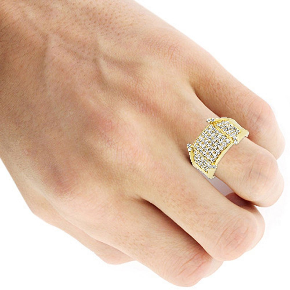 Mens Unique 14K Gold Diamond Band Pinky Ring 1.75ctw (Yellow Gold, Size 11) by Luxurman (Image #4)