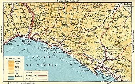 Amazon Com Riviera Di Levante Genova Genoa La Spezia 1960 Old Map Antique Map Vintage Map Italy Maps Wall Maps Posters Prints