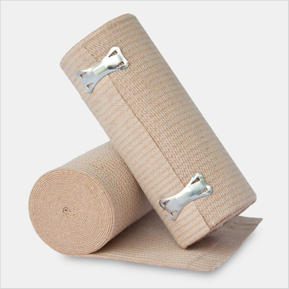 Clipped Elastic Compression Bandage Rolls, Beige Natural, 6'' x 5 yds, 10 Pieces